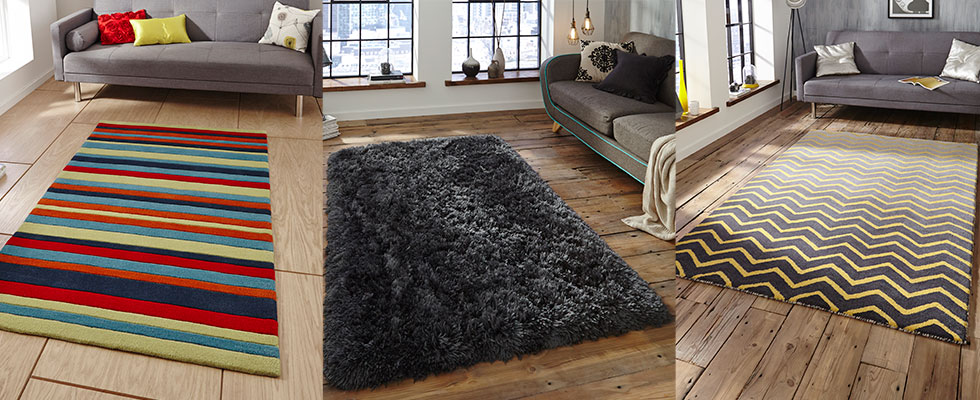3 scenes with different rugs on lounge floor areas