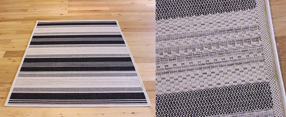 Flat weave constructed floor rug with close up showing the pile weave