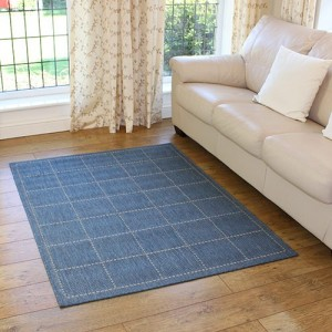 thin blue large rug for kitchen areas