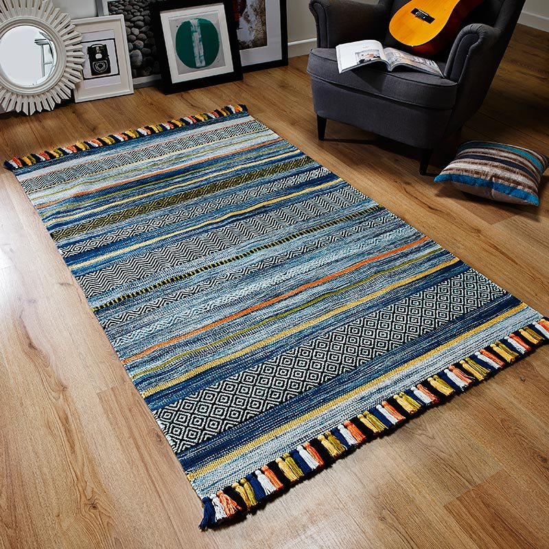 Kelim Fringe Rug Blue Stripes