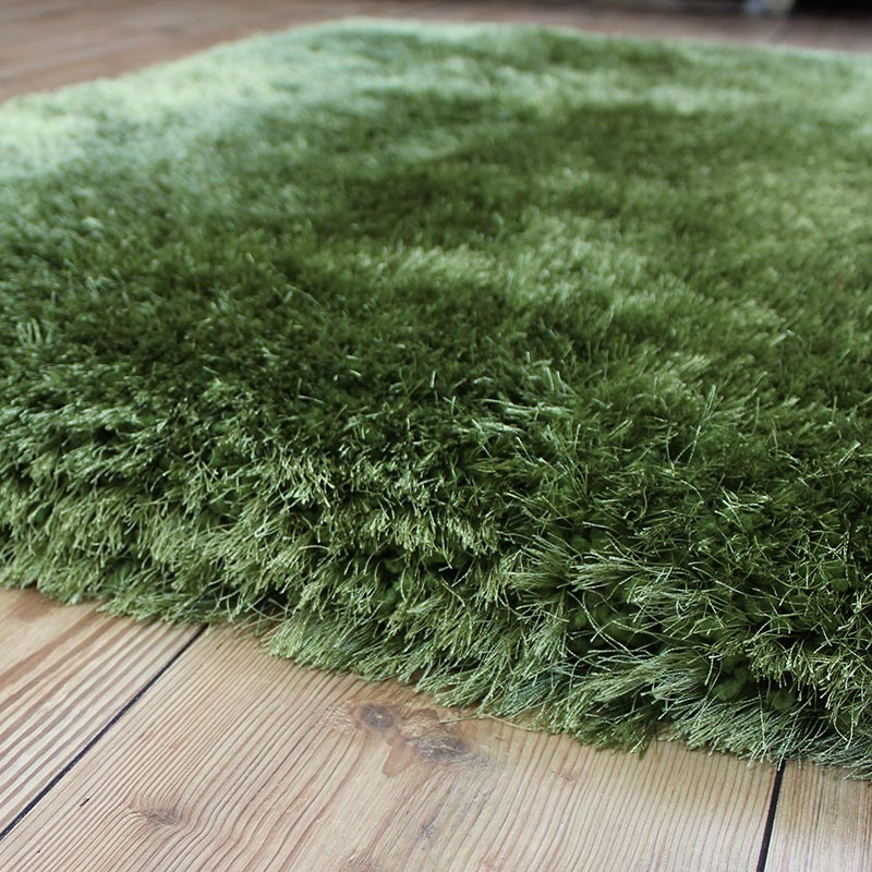 SHAGGY RUG GREEN glossy SHINY DEEP SOFT small large ...