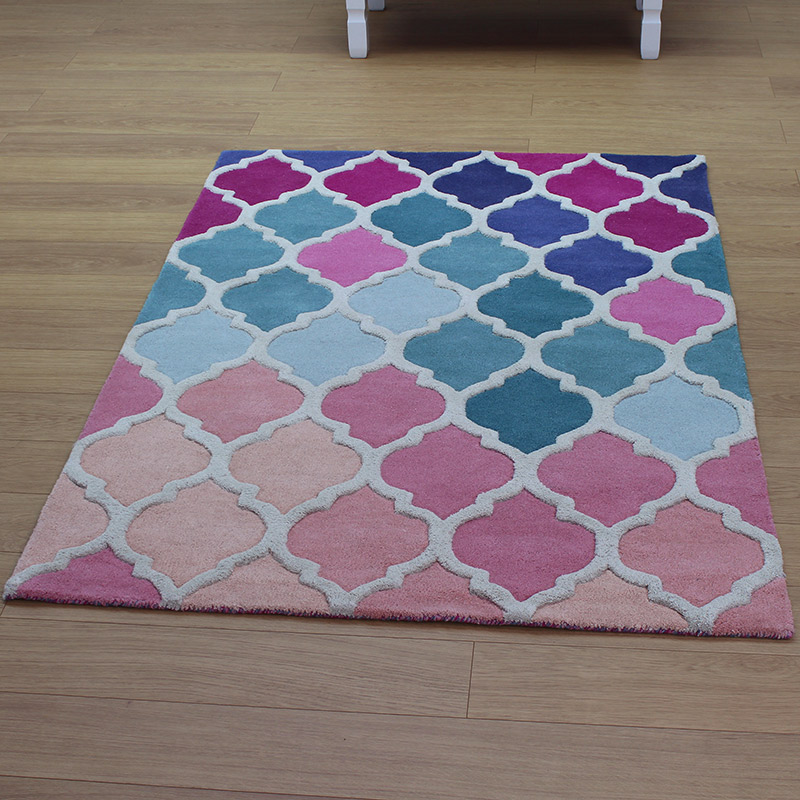 details about wool rug pink teal large small thick soft contemporary