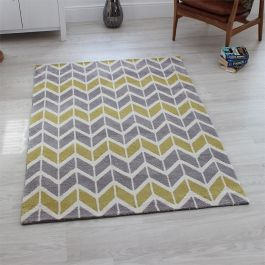 Arlo Chevron Rug Lemon Grey