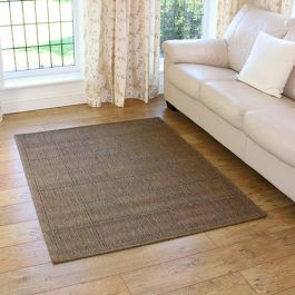 Checked cheap brown rug