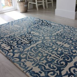 Fresco Rug Blue Faded Contemporary