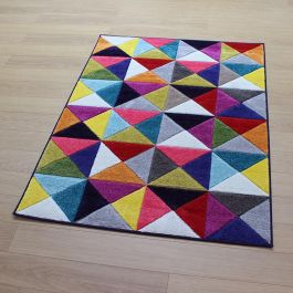 Geometric Multicolour Samba Rug