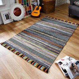 Kelim Fringe Rug Grey Stripes