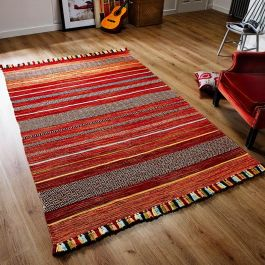 Kelim Fringe Rug Red Stripes