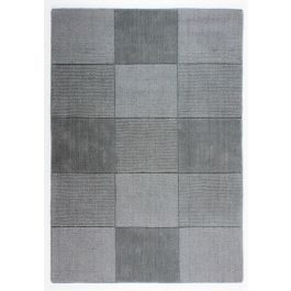 Light Grey Wool Squares Rug