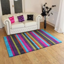 Multicolour Striped wool rugs