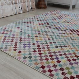 Multi Colour VE02 Dots Chequered Rug