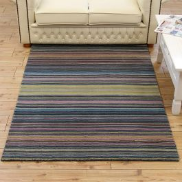Pimlico Fine Striped Rugs Blue