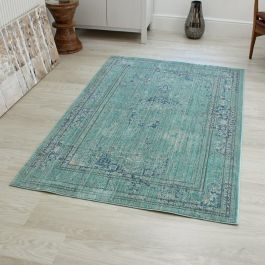 VE10 Faded Floral Rug Aqua Navy Blue