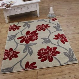 VG41 Cream Red Silver Floral Rug
