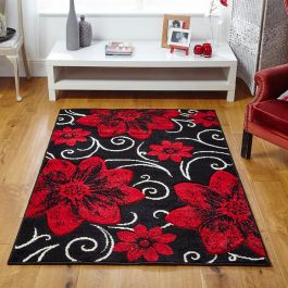 Viva Midnight Red Blossom Rug
