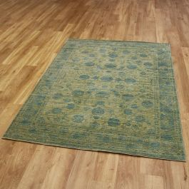 Yellow Blue Aqua Silk Rug