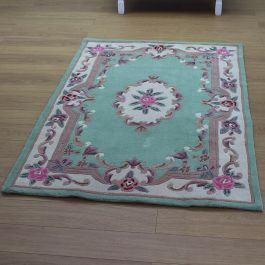 Aubusson Classic Green Wool Rug