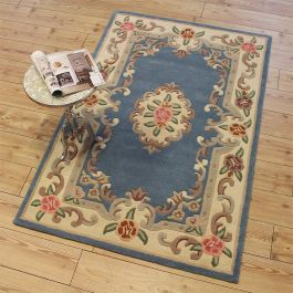 Aubusson Classic Blue Wool Rug