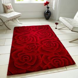 Carved Rose Red Rug