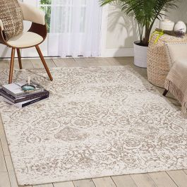 Damask Faded Rug Ivory DAS06