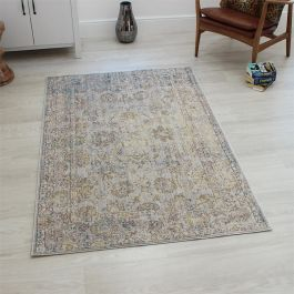 Grey Brown Yellow VE08 Faded Rug
