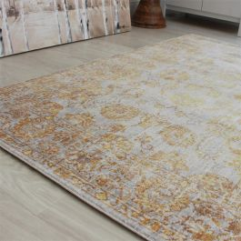 Grey Yellow VE09 Faded Floral Rug