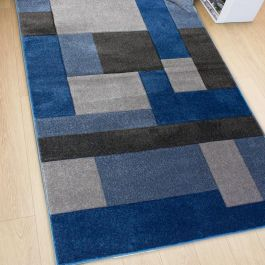Hand Carved Rug Blue Grey