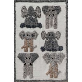 Kingdom Rug with Wool Fringes and Elephant Patterns
