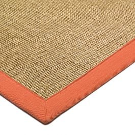 Sisal Rug Linen Orange Border