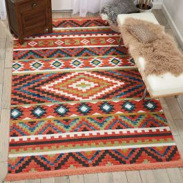Navajo tribal fringe rug Orange NAV04