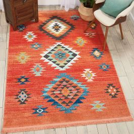 Navajo tribal fringe rug Red NAV07