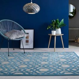 Ombre Blue Two Tone Rug