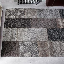 Patchwork Chenille Black Gold Rug