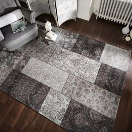 Patchwork Chenille Black Grey Rug