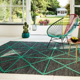 Prism Rug in Charcoal Green