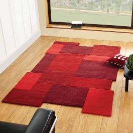 Collage Red Wool Rug