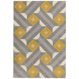Reef Rug RF01 Motif Ochre Grey Wool