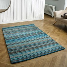 Carter Teal Striped Wool Rug