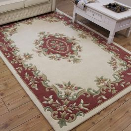 Royal Aubusson cream rose rug