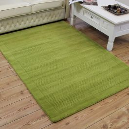 Green SM Large wool plain rug