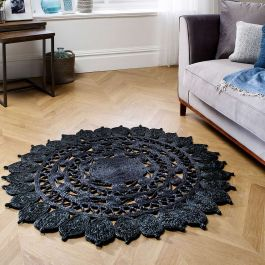 Zarla Black Weaved Patterned Rug