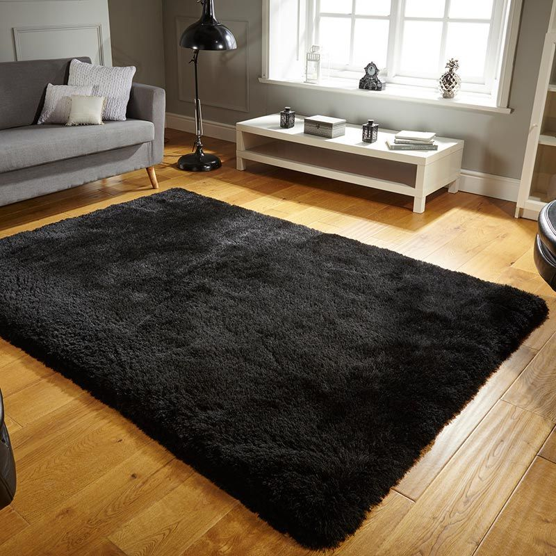 Pearl Shaggy Rug Silky Black Thick