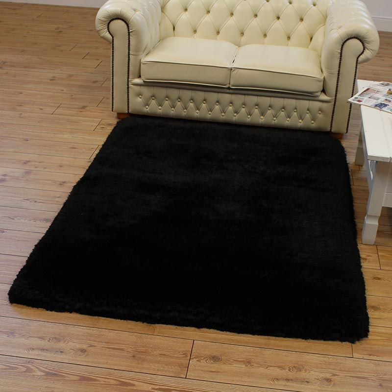 Buy Plush Rugs Black Ultra Thick Glossy Pile Land Of Rugs