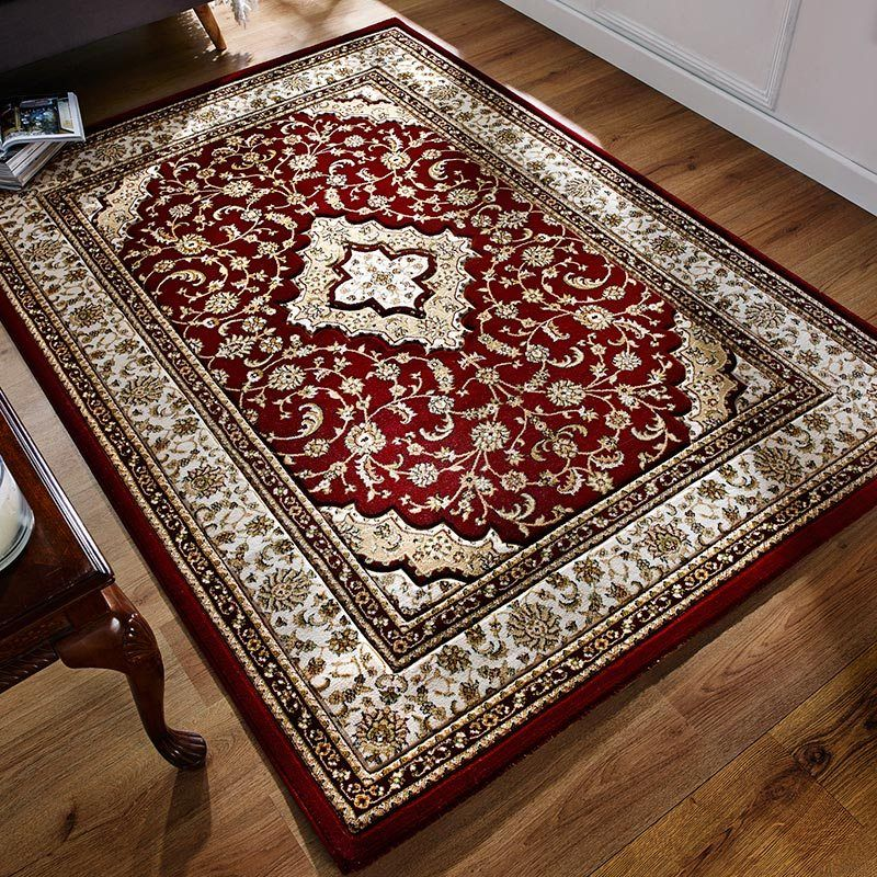 Temple Traditional Red Rug For