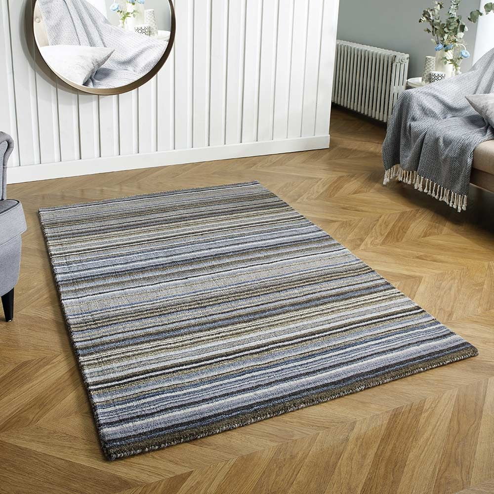 Carter Grey Striped Wool Rug Land Of Rugs