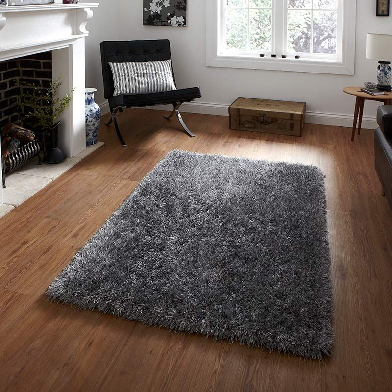 Buy Monte Carlo Rug silver silky shag pile | Land of Rugs