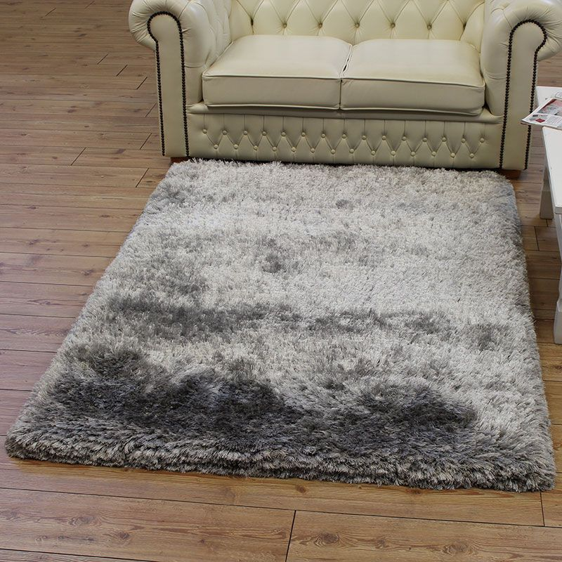 Rug Silver Shaggy Glossy Ultra Thick