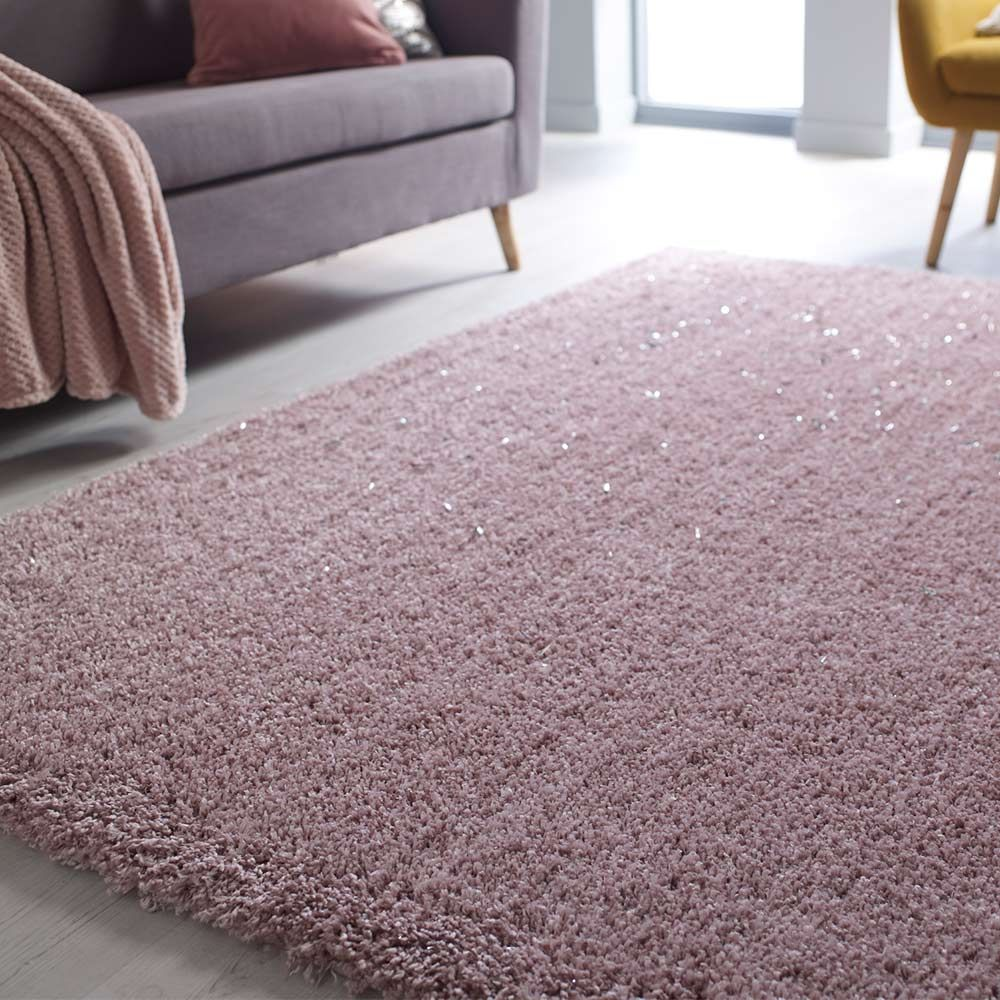 Veloce Blush Pink Shaggy Rug Land Of Rugs