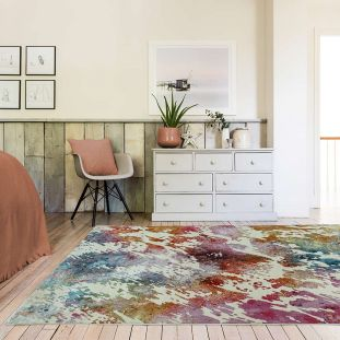 Amelie AM05 Watercolour Abstract Multi Coloured Rug