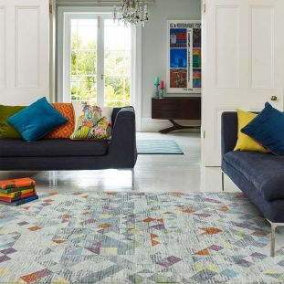 Amelie AM12 Rhombus Grey Abstract Multi Coloured Rug